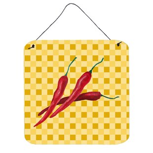 Chili Peppers On Basketweave Wall Décor