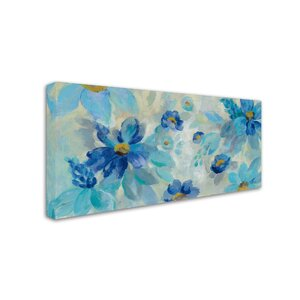 'Blue Flowers Whisper I' Print on Wrapped Canvas by Trademark Fine Art