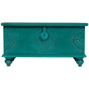 Hand Carved Medallion Coffee Table Trunk by Bungalow Rose