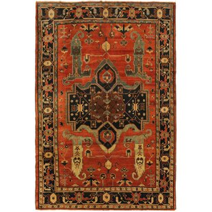 Affordable One-of-a-Kind Grigori Heriz Hand-Knotted 8'10 x 11'8 Wool Red/Beige/Black Area Rug By Isabelline