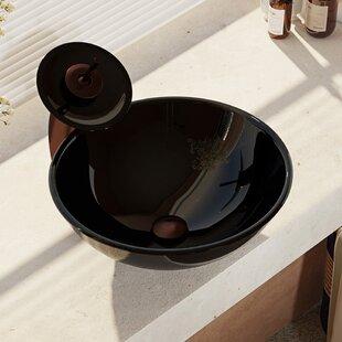 Comparison Glass Circular Vessel Bathroom Sink with Faucet ByRené By Elkay
