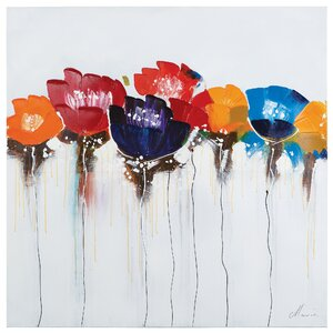 'Jeweled Poppies I' Painting on Wrapped Canvas by Zipcode Design