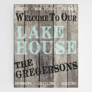 'Wood Lake House' Personalized Textual Art on Wrapped Canvas by JDS Personalized Gifts