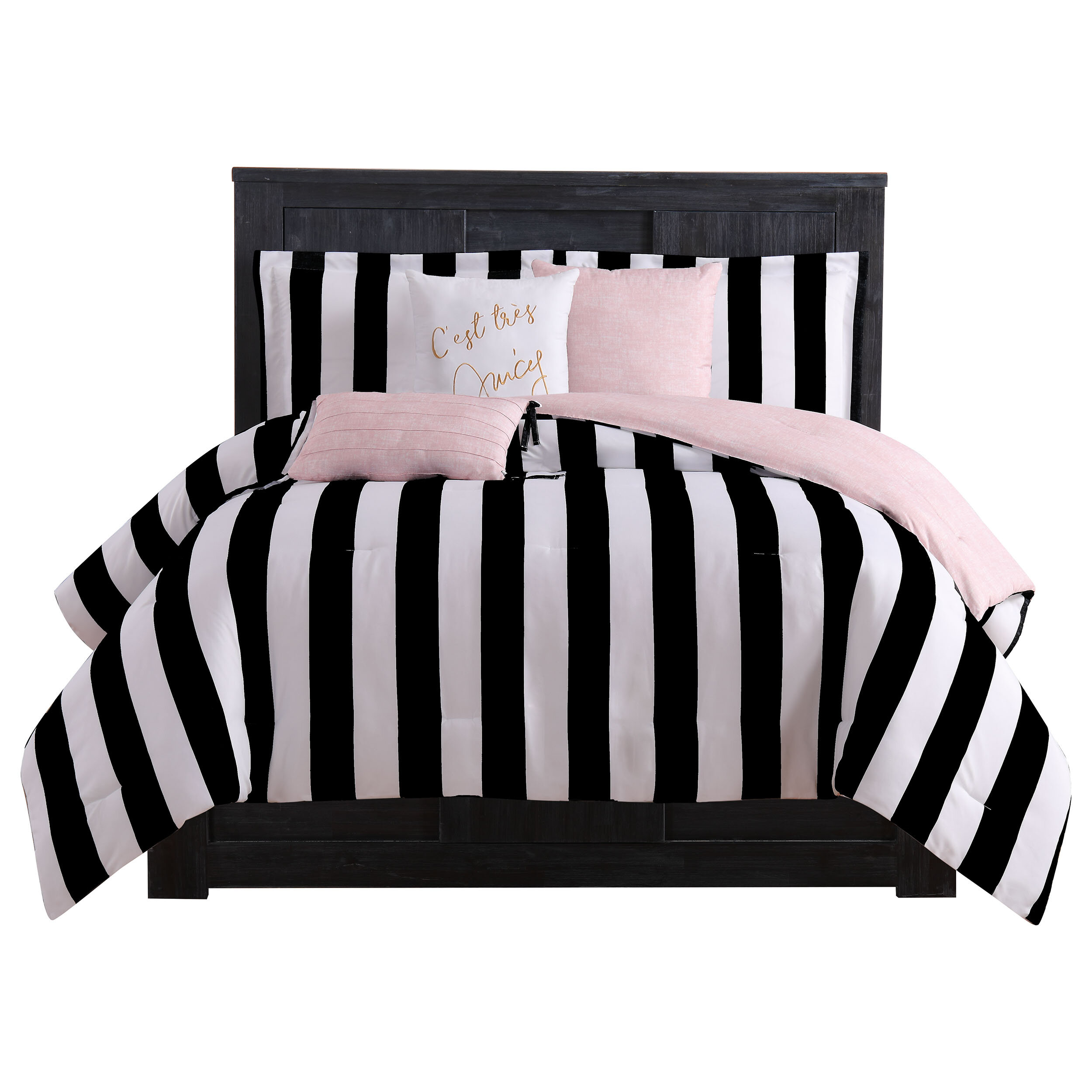 BEAUTIFUL MODERN CHIC CONTEMPORARY REVERSIBLE BLACK WHITE COMFORTER PILLOWS SET