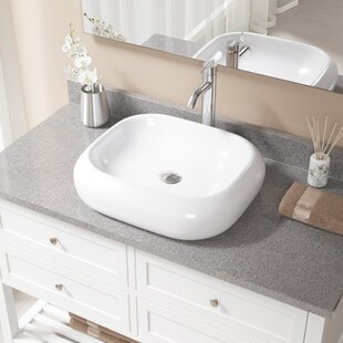 Reviews Pillow Top Vitreous China Rectangular Vessel Bathroom Sink with Faucet By MR Direct