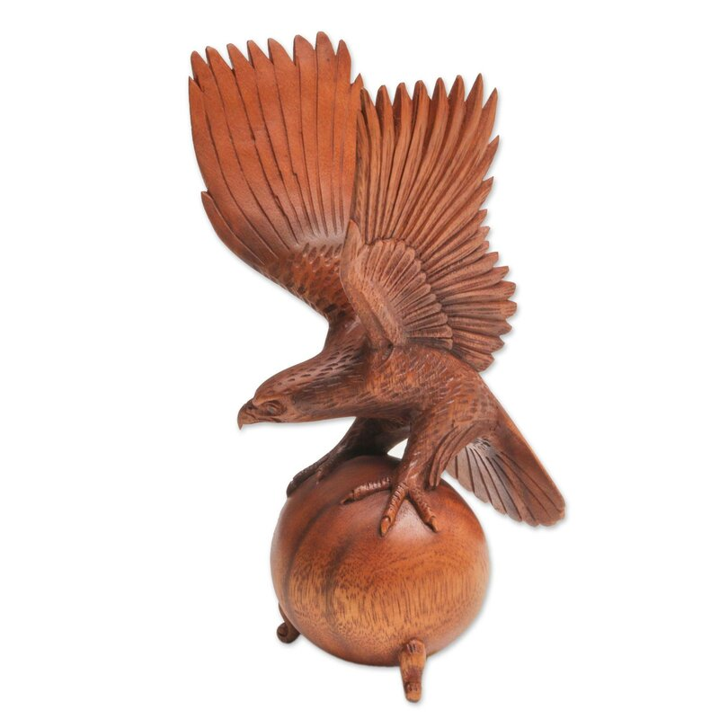 World Menagerie Delaware American Bald Eagle Wood Indonesia Figurine ... 372b8242d7