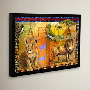 U0027African Lionu0027 Framed Graphic Art On Wrapped Canvas