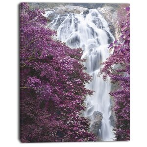 'Klonglan Waterfall Floral' Photographic Print on Canvas by East Urban Home
