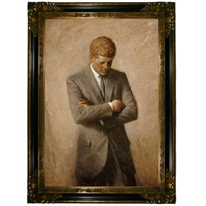 'Portrait of President John F Kennedy 1970' by Aaron Shikler Framed Painting Print by Historic Art Gallery