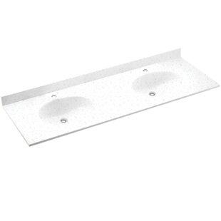 Ellipse Solid Surface 61 Double Bathroom Vanity Top BySwan