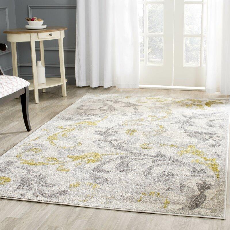 Willa Arlo Interiors Maritza Floral Ivory/Light Grey Indoor ...