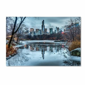 Frozen Central Park Lake I by David Ayash Photographic Print on Wrapped Canvas by Trademark Fine Art