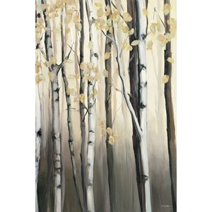 Golden Birch II Painting Print on Wrapped Canvas by Red Barrel Studio
