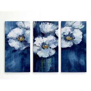'Blooming Poppies' Acrylic Painting Print Multi-Piece Image on Wrapped Canvas by House of Hampton