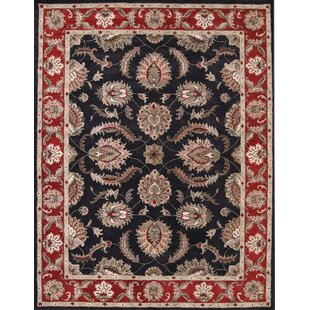 Online Reviews Bovill Agra Oriental Hand-Tufted Wool Black Area Rug ByCanora Grey