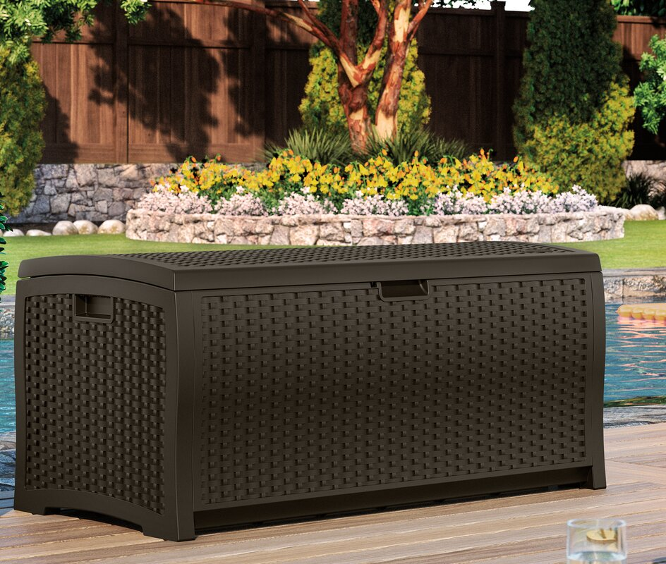 Suncast 73 gallon resin deck box reviews for Wayfair garden box
