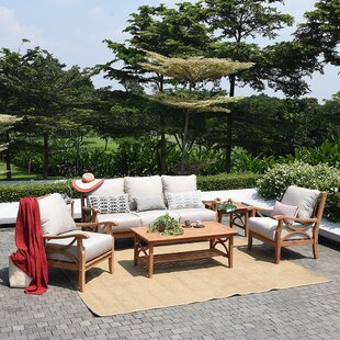 Brunswick 5 Piece Teak Sofa Seating Group with Cushions By Birch Lane™