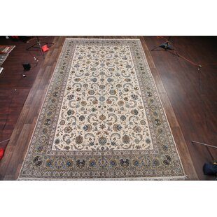 Chadd Traditional Signed Kashan Persian Hand-Knotted Wool BeigeBlue IndoorOutdoor Area Rug