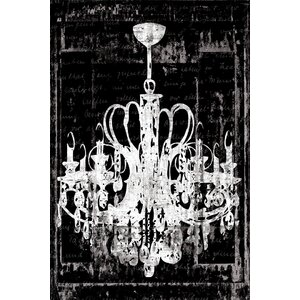 'Chandelier 3' Painting Print on Wrapped Canvas in Black by Willa Arlo Interiors