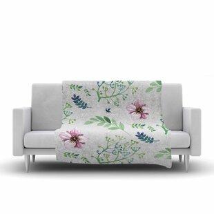 Affordable Louise Summer Flower Pattern Fleece Blanket ByEast Urban Home