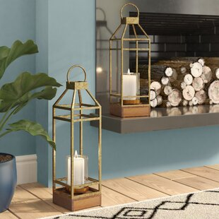 2 Piece Iron/Wood Lantern Set