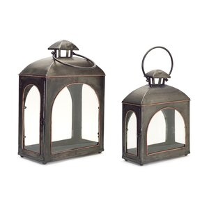 2 Piece Metal/Glass Lantern Se...