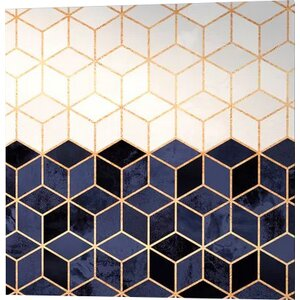 'White and Navy Cubes' Graphic Art on Wrapped Canvas by Willa Arlo Interiors