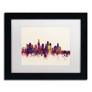 Los Angeles California Skyline IV by Michael Tompsett Framed Graphic Art by Trademark Fine Art