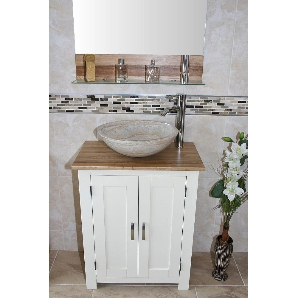 Solid Oak 650mm Free Standing Vanity