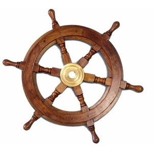Brown/Brass Wood Ship Wheel Wall Du00e9cor