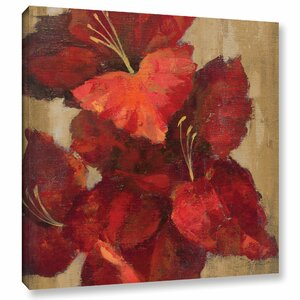 'Vivid Red Gladiola on Gold Crop' Painting Print on Wrapped Canvas by Andover Mills