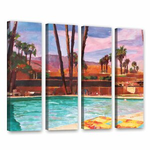 The Palm Springs Pool by Marcus/Martina Bleichner 4 Piece Painting Print on Gallery Wrapped Canvas Set by ArtWall