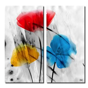 'Painted Petals IIIB' by Ready2HangArt™ Graphic Art on Canvas by Ready2hangart