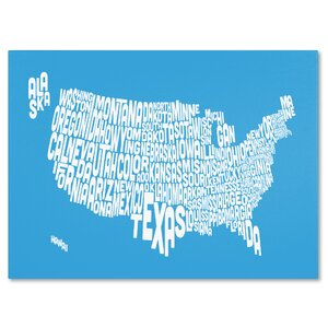 USA States Text Map by Michael Tompsett Textual Art on Wrapped Canvas by Trademark Fine Art