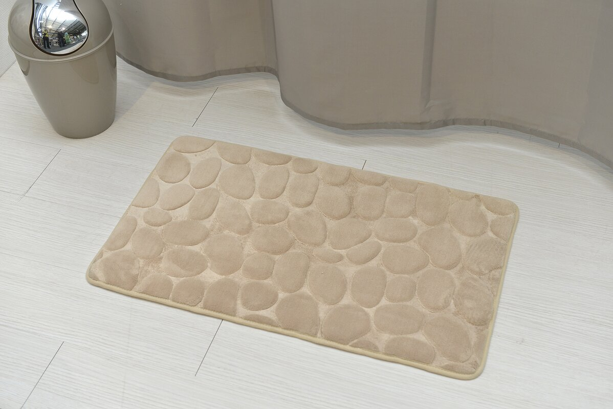 evideco stone non skid bath rug & reviews | wayfair
