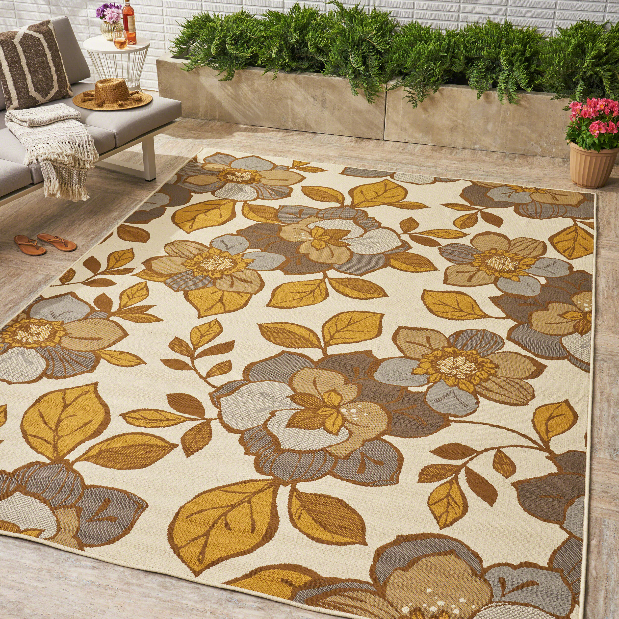 Red Barrel Studio Reisman Floral Ivory Indoor Outdoor Area Rug Wayfair