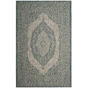 Belem Multipurpose Indoor Outdoor Light Grey Teal Rug