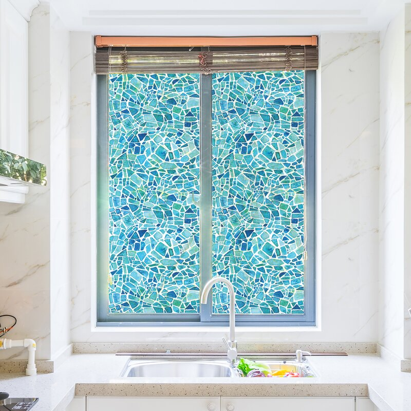 decorative glass block borders for a shower wall or windows.htm highland dunes mosaic window film   reviews wayfair  highland dunes mosaic window film