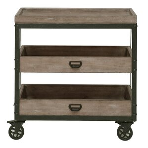 Fort Oglethorpe Kitchen Cart with Wood Top by Laurel Foundry Modern Farmhouse