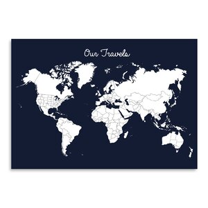 Our Travels Graphic Art in Midnight Blue by East Urban Home