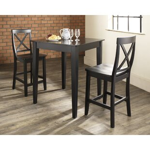Affordable Pershore 3 Piece Pub Table Set with Tapered Leg Table and X-Back Barstools by Charlton Home
