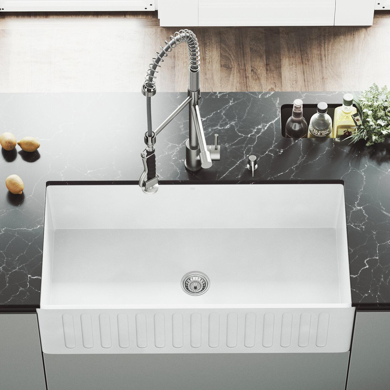 "VIGO Vigo 36"" x 18"" Farmhouse Kitchen Sink with Faucet & Reviews"
