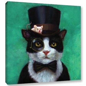 'Tuxedo Cat' Graphic Art Print on Canvas by Wrought Studio