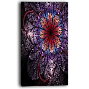 Glittering Bright Colorful Fractal Flower Graphic Art on Wrapped Canvas by Design Art