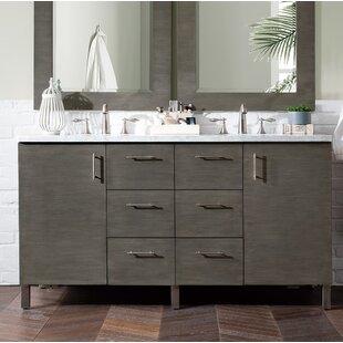 Elbridge 60 Single Silver Oak Quartz Top Bathroom Vanity Set