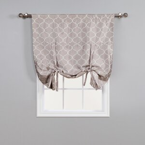 Faux Silk Quatrefoil Geometric Blackout Thermal Rod Pocket Single Curtain Panel