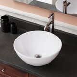 Vitreous China Circular Vessel Bathroom Sink with Overflow by MR Direct
