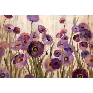 Pink and Purple Flowers Painting Print on Wrapped Canvas by Charlton Home