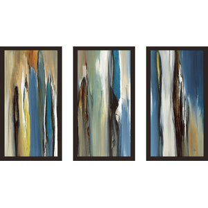 'Fields of Blue' Framed Painting Print Multi-Piece Image on Glass by Ivy Bronx