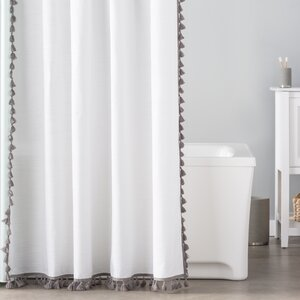 Suffield 100% Cotton Tassel Shower Curtain Astoria Grand